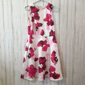 Pink floral watercolor style dress